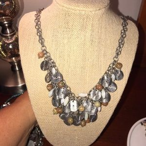 Silver brown statement necklace  Coldwater creek